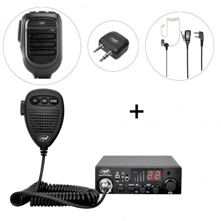 Kit Statie radio CB PNI Escort HP 8001L ASQ, PNI BT-DONGLE 8001, Microfon Bluetooth PNI BT-MIKE 8500