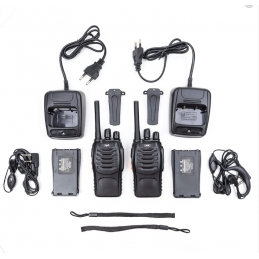 Statie radio UHF portabila PNI PMR R20, Walkie-Talkie, set 2 buc, acumulatori 1200mAh, casti incluse