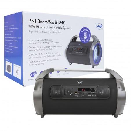 Boxa portabila cu microfon PNI BoomBox BT240 stereo 24W Bluetooth Karaoke