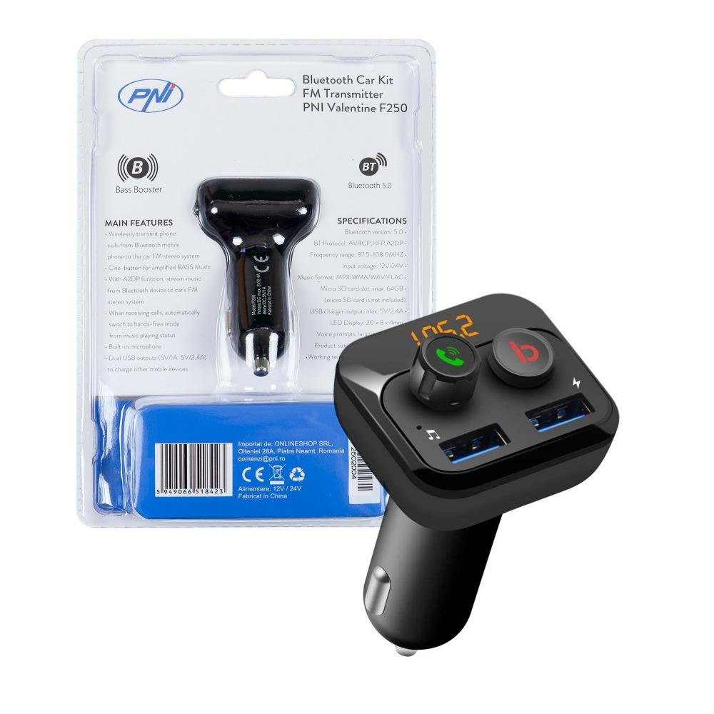 Modulator FM PNI Valentine F250 Bluetooth 5, MP3 player, transmitator FM, micro SD, port USB dual, incarcare rapida, super bass