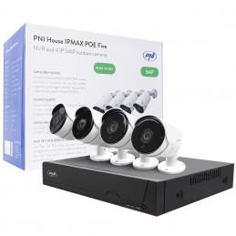 Kit supraveghere video PNI House IPMAX POE Five, NVR cu 4 porturi POE, ONVIF si 4 camere cu IP 5MP, de exterior