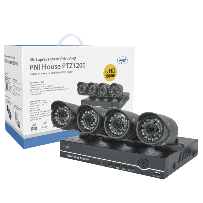 Kit supraveghere video AHD PNI House PTZ1200 Full HD - NVR si 4 camere exterior