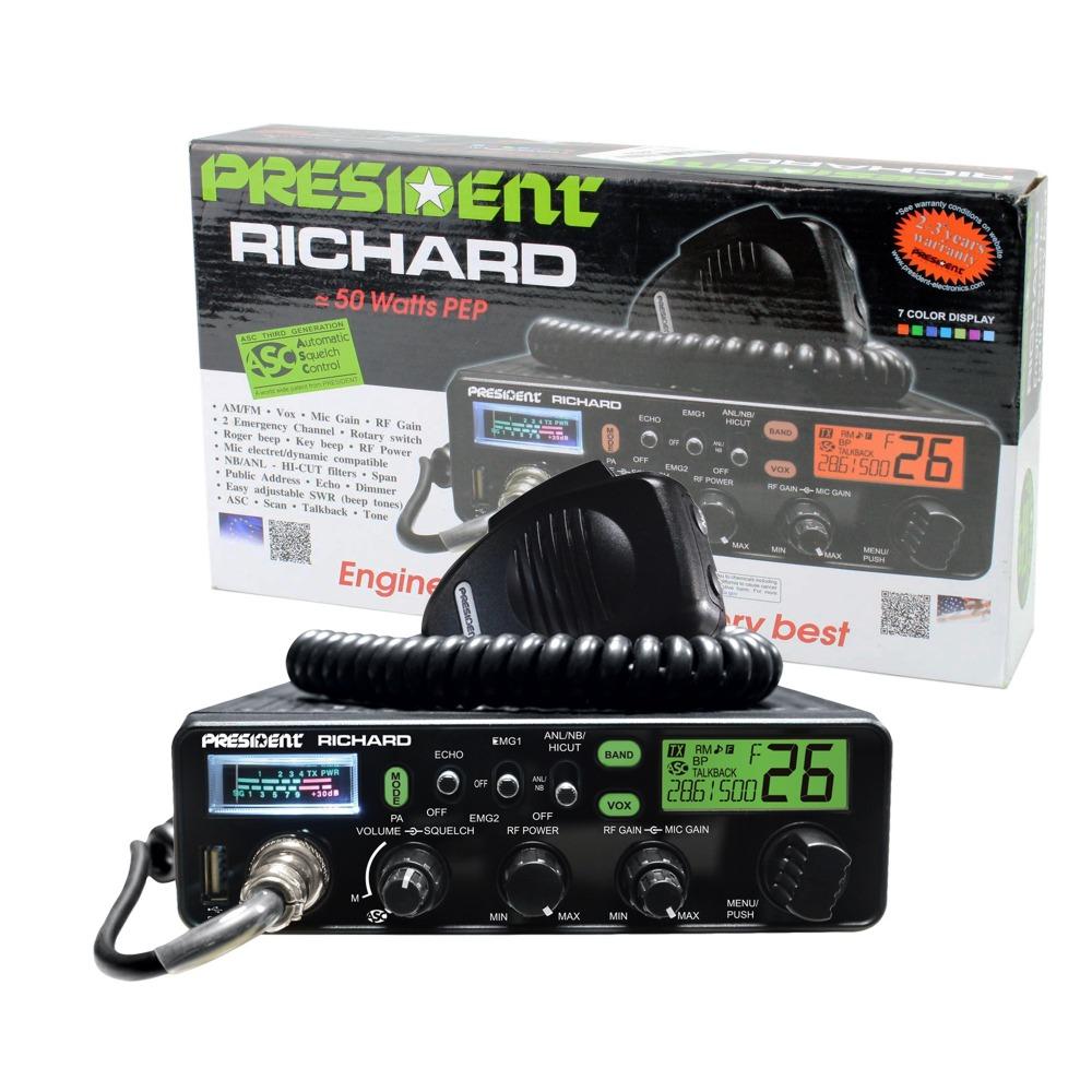 Statie radio CB President Richard ASC 10/11/12M, AM/FM, reglabila 4-50W