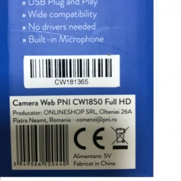 Camera Web PNI CW1850 Full HD 1080P 2MP USB microfon incorporat