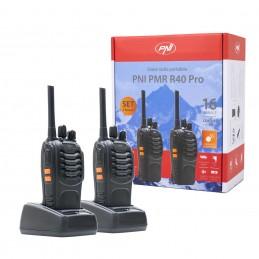 Statie radio UHF portabila PNI PMR R40 Walkie-Talkie set 2 buc acumulatori 1200mAh casti incluse
