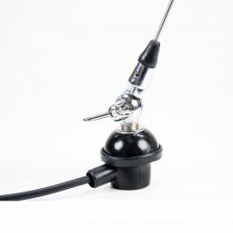 Antena VHF LEMM Europ 1/4 AT28 taxi 144-174 MHz fluture 58 cm castig 2dB 300W montura fixa cablu 4m, fabricat in Italia