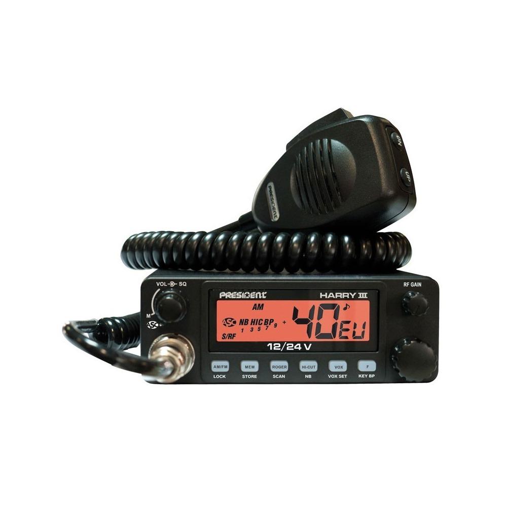 Statie radio CB President HARRY III ASC 12/24V Squelch manual și ASC, Roger Scan, Memorie canale