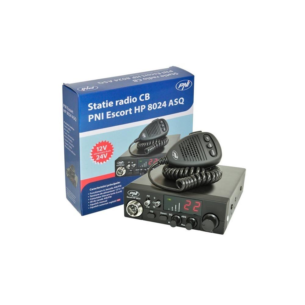 Statie radio CB PNI Escort HP 8024, ASQ reglabil, alimentare 12V-24V