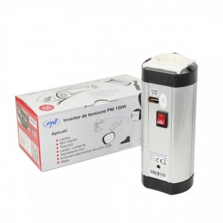 Invertor tensiune PNI 150W, alimentare 12V, USB, 220V