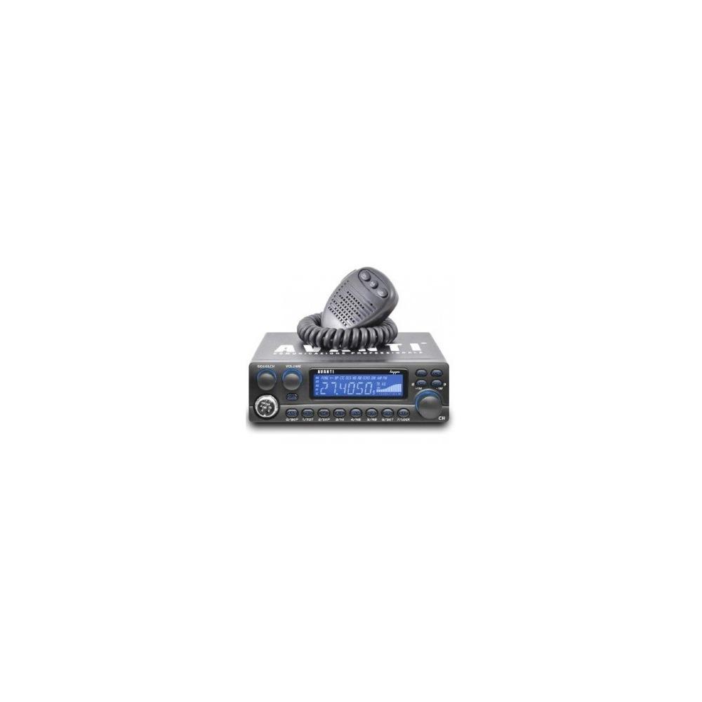 Statie radio CB Avanti Kappa versiune export moduri AM/FM, Autosquelch, 8 roger bip-uri, ecou, display albastru.