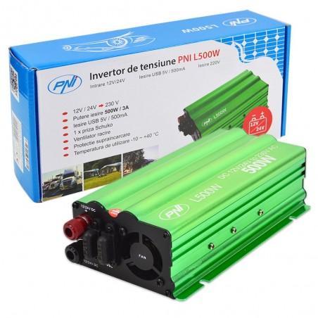 Invertor tensiune PNI L500W alimentare duala 12V / 24V iesire 230V